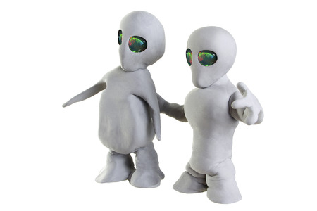 encounters: gray alien made of clay on a white background Stock Photo