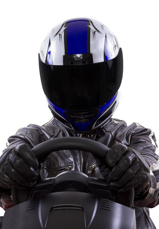 motorsports: race car driver wearing protective leather and helmet