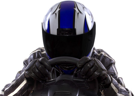 blue helmet: race car driver wearing protective leather and helmet