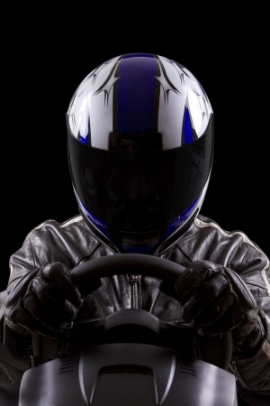 race car driver wearing protective leather and helmet
