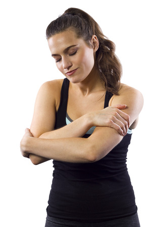 young female with muscle strain   cramps