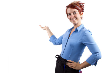 young redhead waitress on white background Stock Photo - 23840004
