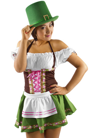 young asian female bartender dressed in St Patrick