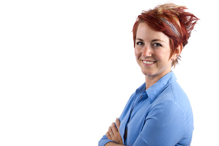 young redhead waitress on white background photo