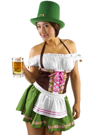 young asian waitress in costume serving beer Stock Photo - 23842564