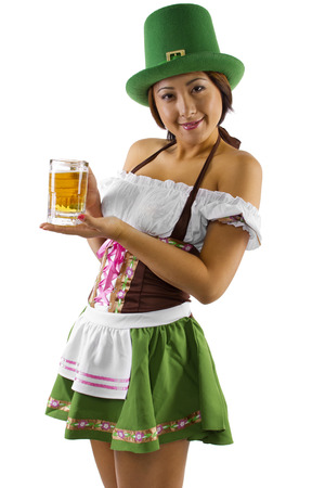 young asian waitress in costume serving beer  photo