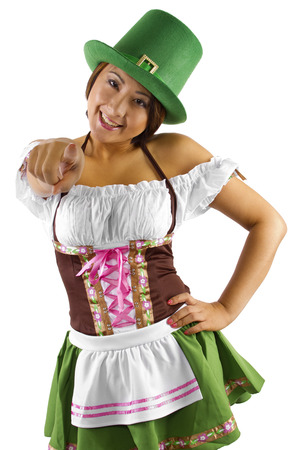 young asian female bartender dressed in St Patrick photo