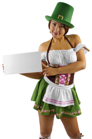 alcohol server: young asian female waitress in costume holding a sign