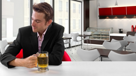 young businessman having beer at his lunch break Stock Photo - 24108699
