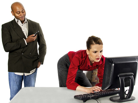 pervert: Sexual Harassment at Work Stock Photo