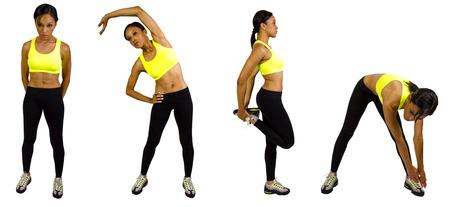 young black female athlete doing warm up exercises