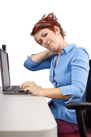 positions: young woman demonstrating office desk posture