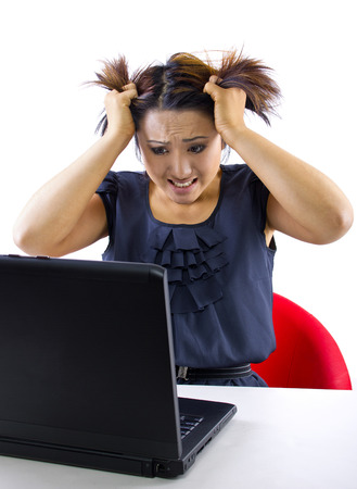 young woman frustrated because accounts are overdrawn