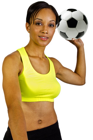 young black female with a soccer ball  photo