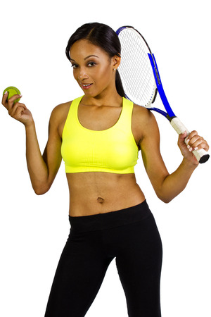 young black female tennis player with a racquet photo