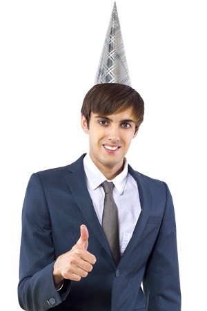 young caucasian businessman celebrating new year photo