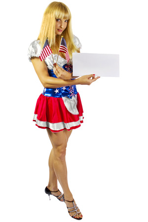 young female wearing american flag costume photo
