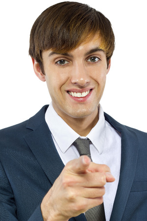 young businessman pointing at the viewer photo