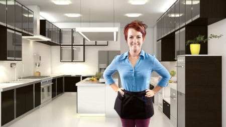 young female redhead server in a 3d kitchen Stock Photo - 24609868