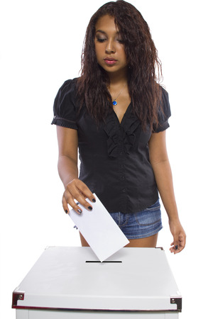 voter: Latin female voter at the ballot box  Isolated on a white background
