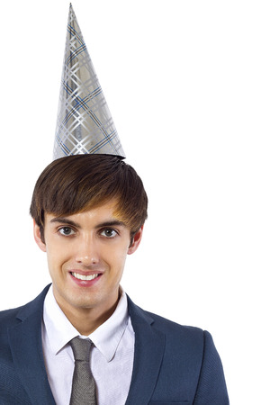 hat new year s eve: young caucasian businessman celebrating new year