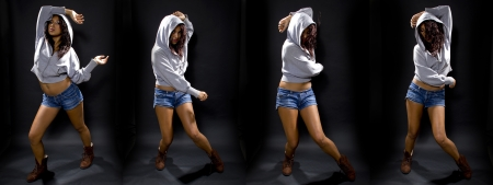 Sequence of latina female dancing to hip hop, wearing a hoodie on a black background. photo