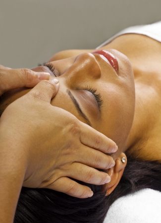 young black female getting a head massage   facial Stock Photo - 24610077