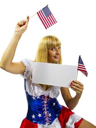 young patriotic female holding a banner sign photo