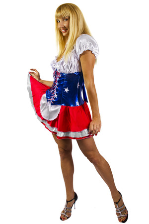 young patriotic female advertising on 4th of July photo