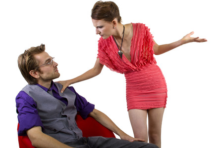 woman nagging and overwhelming her boyfriend photo