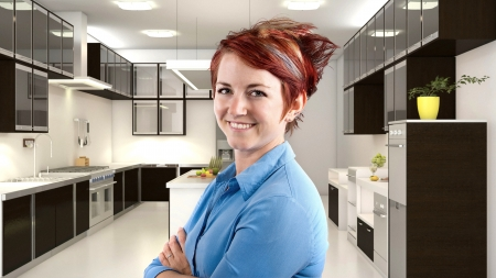 young female redhead server in a 3d kitchen photo