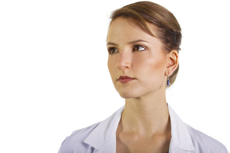 whitespace: CU of female doctor with whitespace for text Stock Photo