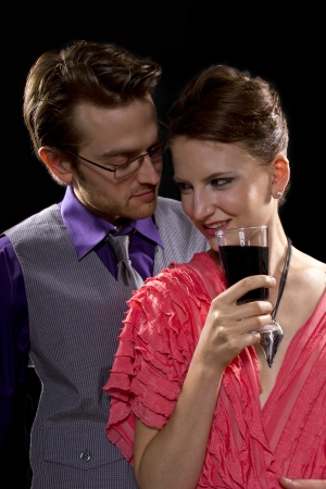 couple partying. black background photo