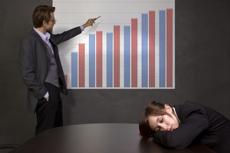 meeting in a conference room with projector and chart