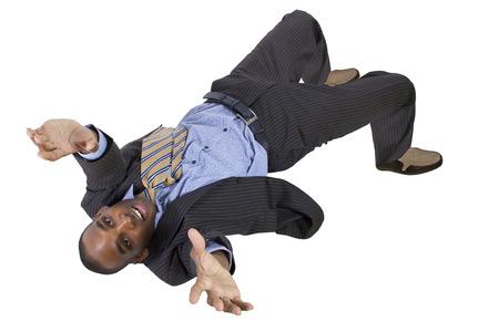 caida libre: cayendo joven empresario negro de la vista superior Foto de archivo