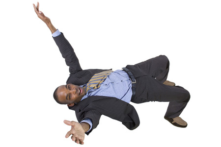 freefall: falling young black businessman from top view Stock Photo