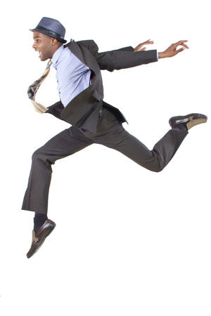 young black businessman leaping  jumping high