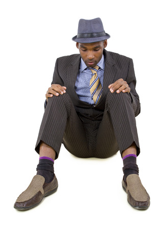 young black businessman stressed or depressed about failure Stock Photo