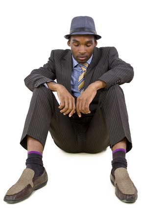 young black businessman stressed or depressed about failure Stock Photo - 25282695