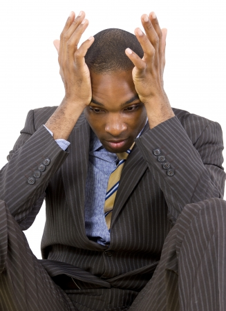 young black businessman stressed or depressed about failure Stock Photo - 25282696