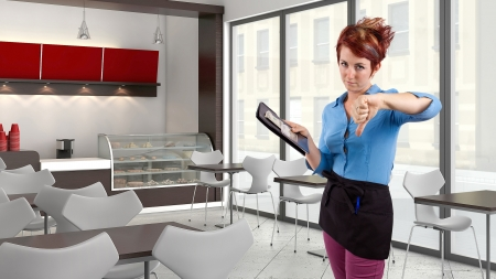 red head: young red head waitress fed up with her job  Stock Photo