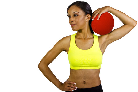 young black female with red a dodgeball photo