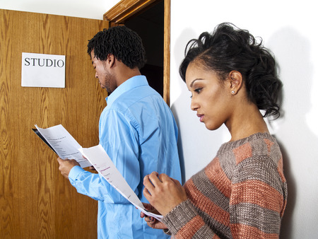 audition: Casting Call - Actors waiting at a casting session  Film Industry