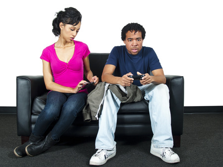 snooping: Relationship distrust   snooping on text message Stock Photo