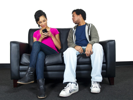 Relationship distrust   snooping on text message photo