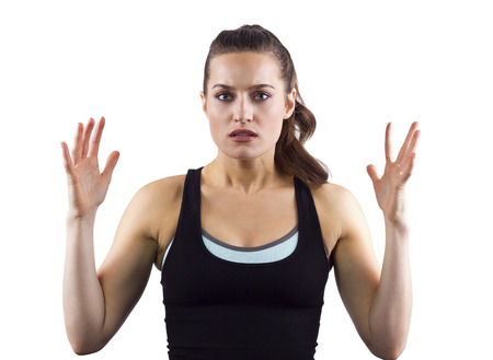 dissapointed: young female fitness trainer