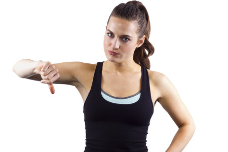 disapprove: young female fitness trainer