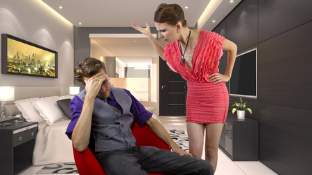 nagging: woman nagging and overwhelming her boyfriend