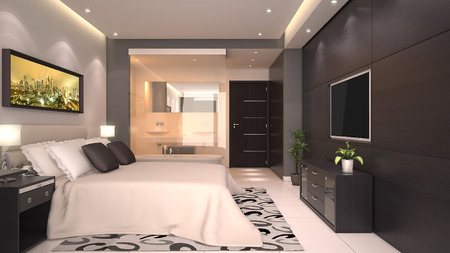 bedroom design: bright modern interior of hotel room or condominium  Stock Photo