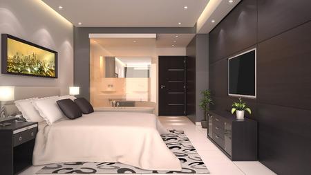 suite: bright modern interior of hotel room or condominium  Stock Photo
